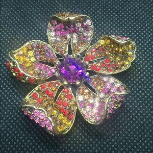 Flower Multicolor Pave Rhinestone Brooch